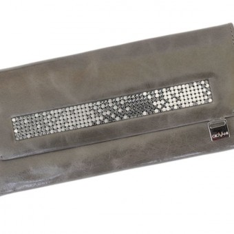 Giovani Woman Leather Wallet Swarovski Line Grey-4439