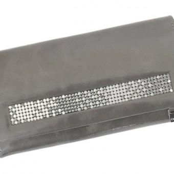Giovani Woman Leather Wallet Swarovski Line Grey-4423