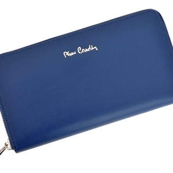 Pierre Cardin Women Leather Wallet with Zip Blue-5125