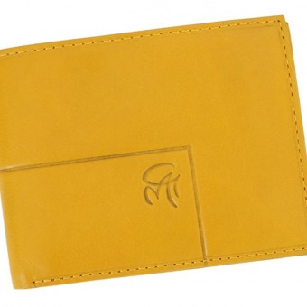 Gai Mattiolo Man Leather Wallet with coin pocket Yellow-6398