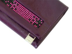 Giovani Woman Leather Wallet Swarovski Line Grey-4413