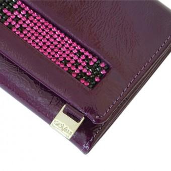 Giovani Woman Leather Wallet Swarovski Line Grey-4413