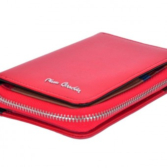 Pierre Cardin Women Leather Wallet with Zip Claret-5929