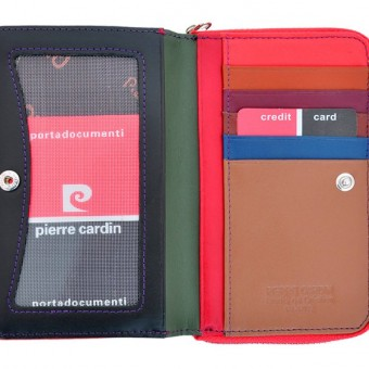 Pierre Cardin Women Leather Wallet with Zip Claret-5934
