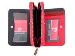 Pierre Cardin Women Leather Wallet with Zip Claret-5939