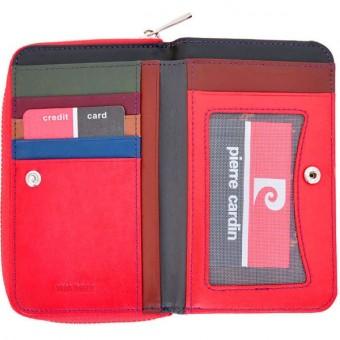 Pierre Cardin Women Leather Wallet with Zip Claret-5942