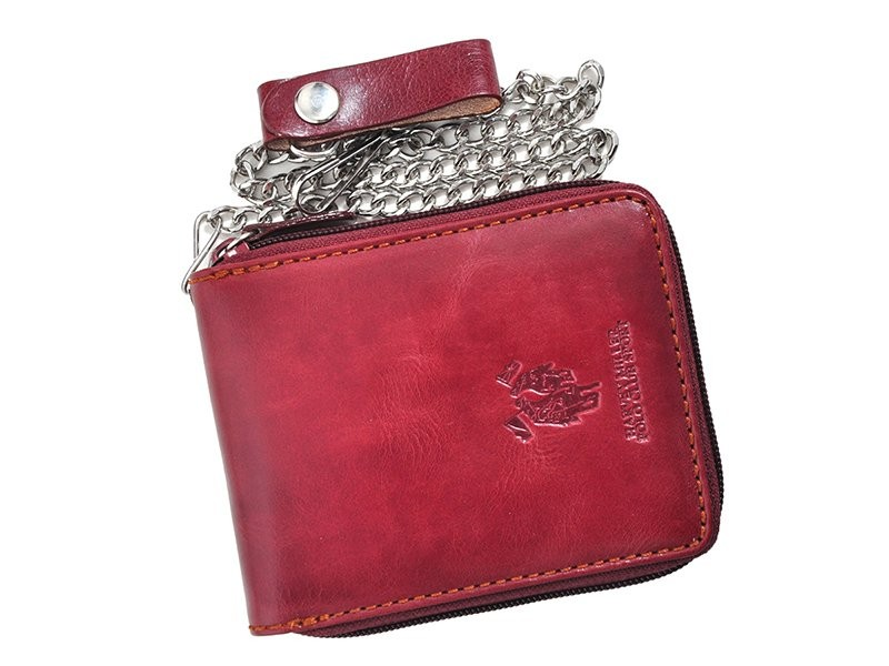 Harvey Miller Polo Club man leather wallet with ZIP and Chain Brown-7219