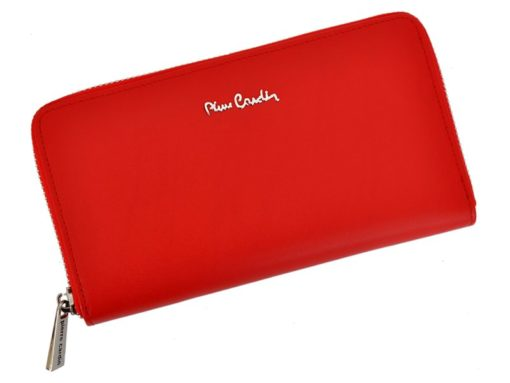 Pierre Cardin Women Leather Wallet with Zip Dark Red-5147