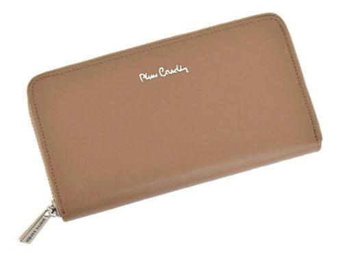 Pierre Cardin Women Leather Wallet with Zip Beige-5087