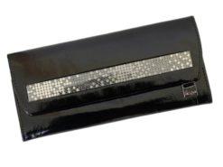 Giovani Woman Leather Wallet Swarovski Line Grey-4449