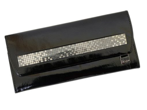 Giovani Woman Leather Wallet Swarovski Line Grey-4449