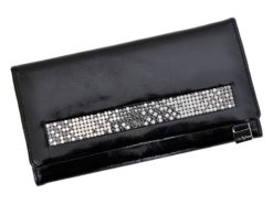 Giovani Woman Leather Wallet Swarovski Line Grey-4425