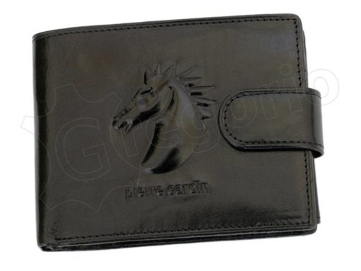 Pierre Cardin Man Leather Wallet with Horse Black-5059