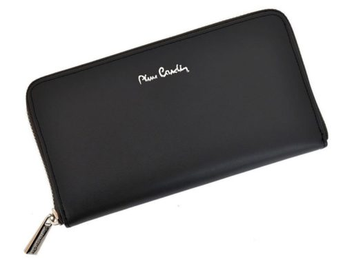 Pierre Cardin Women Leather Wallet with Zip Grey-5117