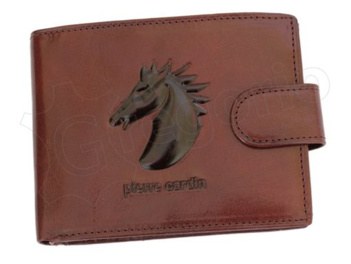 Pierre Cardin Man Leather Wallet with Horse Cognac-5022