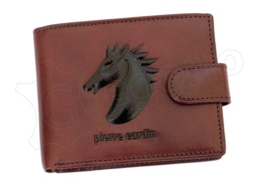Pierre Cardin Man Leather Wallet with horse Brown-5194