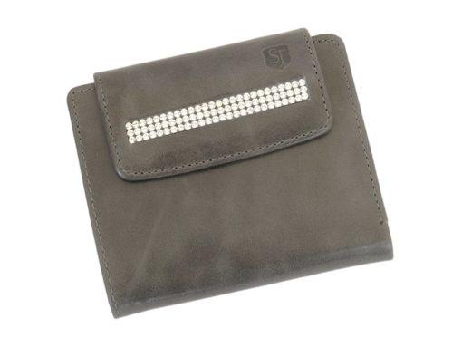 Giovani Woman Leather Wallet Swarovski Line Red-4394