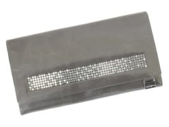 Giovani Woman Leather Wallet Swarovski Line Grey-4423