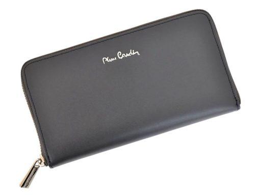 Pierre Cardin Women Leather Wallet with Zip Blue-5128
