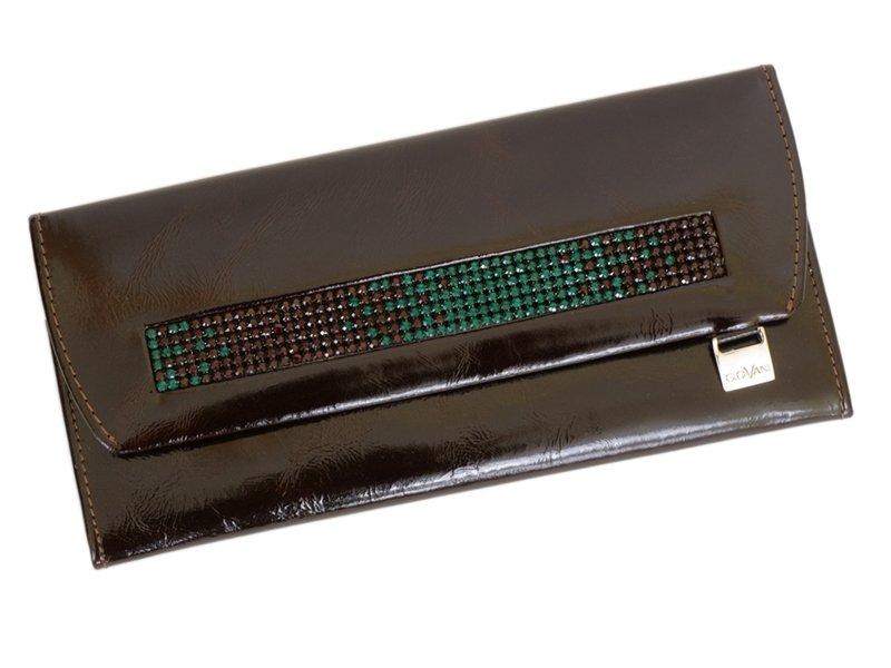Giovani Woman Leather Wallet Swarovski Line Brown-4459