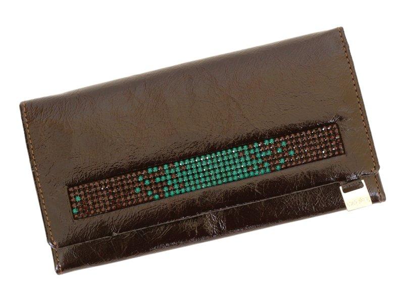 Giovani Woman Leather Wallet Swarovski Line Grey-4418