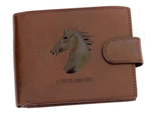 Pierre Cardin Man Leather Wallet with Horse Cognac-5030