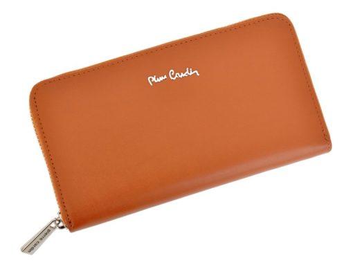 Pierre Cardin Women Leather Wallet with Zip Beige-5075