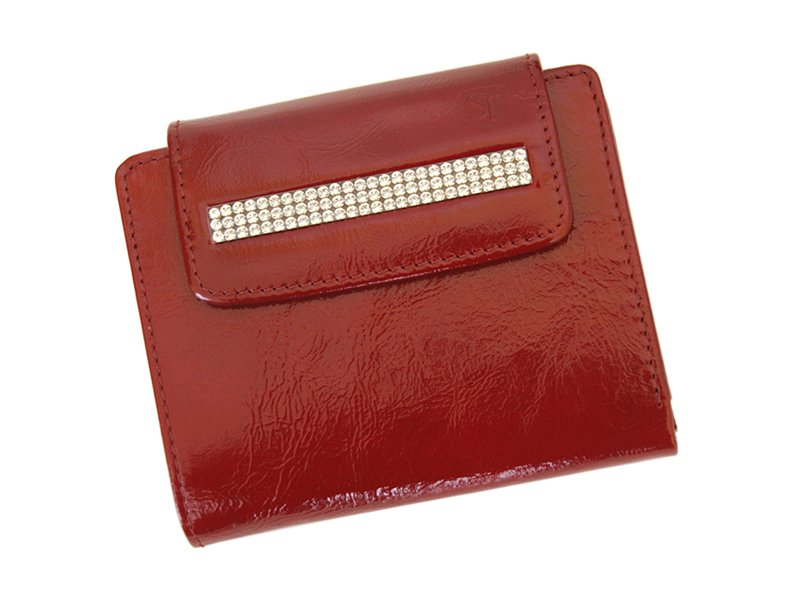 Giovani Woman Leather Wallet Swarovski Line Red-4386