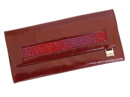 Giovani Woman Leather Wallet Swarovski Line Brown-4453