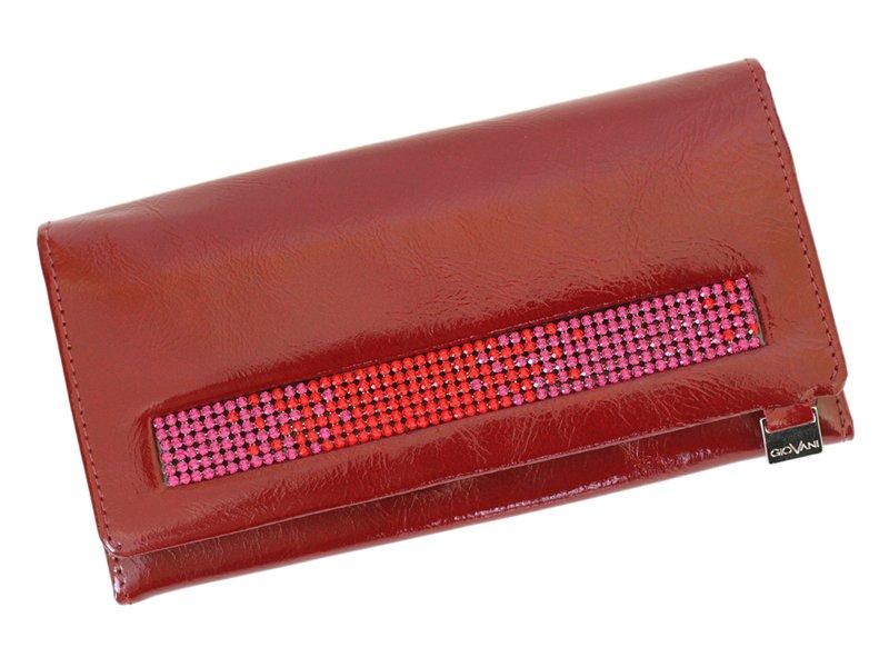 Giovani Woman Leather Wallet Swarovski Line Grey-4416