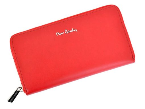 Pierre Cardin Women Leather Wallet with Zip Dark Red-5136