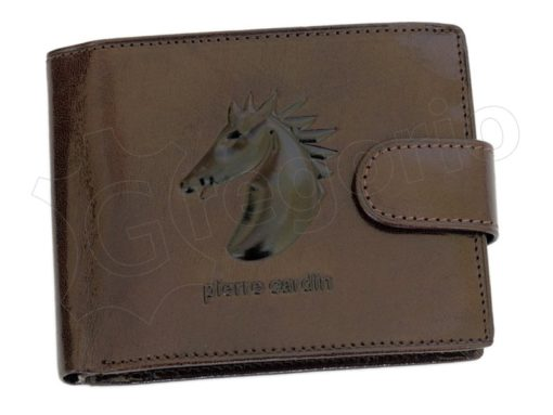 Pierre Cardin Man Leather Wallet with Horse Brown-5041
