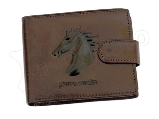 Pierre Cardin Man Leather Wallet with horse Brown-5202