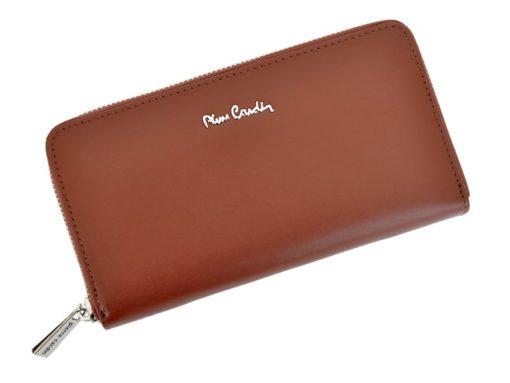 Pierre Cardin Women Leather Wallet with Zip Dark Red-5150