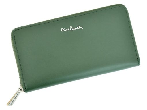 Pierre Cardin Women Leather Wallet with Zip Grey-5113