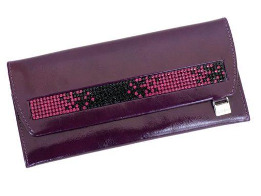 Giovani Woman Leather Wallet Swarovski Line Brown-4452