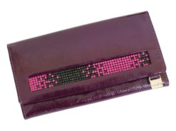 Giovani Woman Leather Wallet Swarovski Line Grey-4420