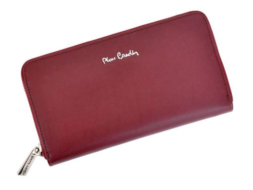 Pierre Cardin Women Leather Wallet with Zip Dark Red-5148