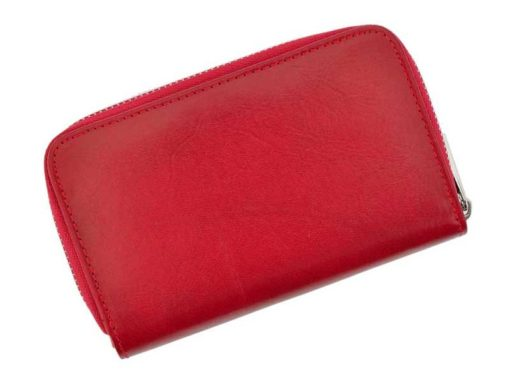 Pierre Cardin Women Leather Wallet with Zip Red-5967