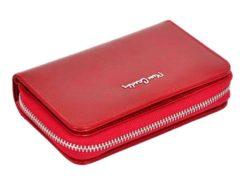 Pierre Cardin Women Leather Wallet with Zip Red-5972