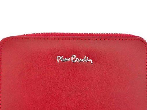 Pierre Cardin Women Leather Wallet with Zip Red-5970