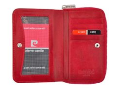Pierre Cardin Women Leather Wallet with Zip Red-5969