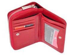 Pierre Cardin Women Leather Wallet with Zip Red-5973