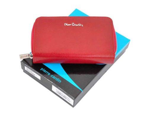 Pierre Cardin Women Leather Wallet with Zip Red-5965