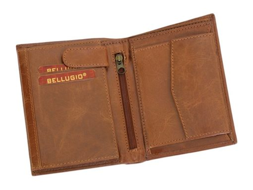 Bellugio Man Leather Wallet Dark Brown-6623