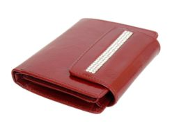 Giovani Woman Leather Wallet Swarovski Line Red-4395