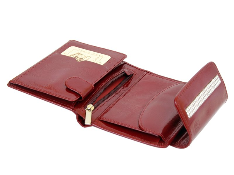 Giovani Woman Leather Wallet Swarovski Line Red-4392