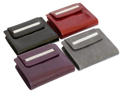 Giovani Woman Leather Wallet Swarovski Line Red-4391