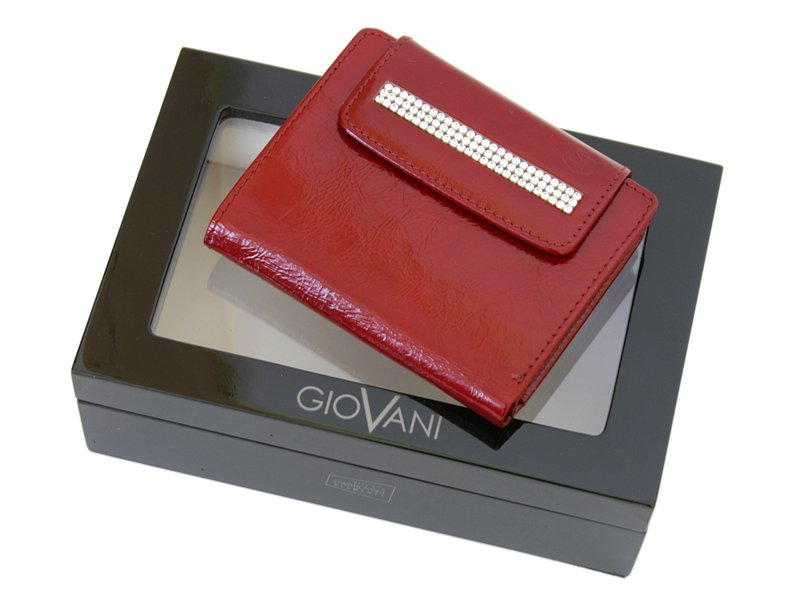 Giovani Woman Leather Wallet Swarovski Line Red-4389
