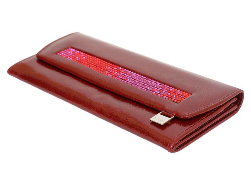 Giovani Woman Leather Wallet Swarovski Line Red-4470